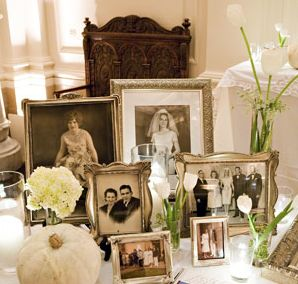 Pictures of those we love at the wedding on the tables and decor :) Vintage, historical and homely.