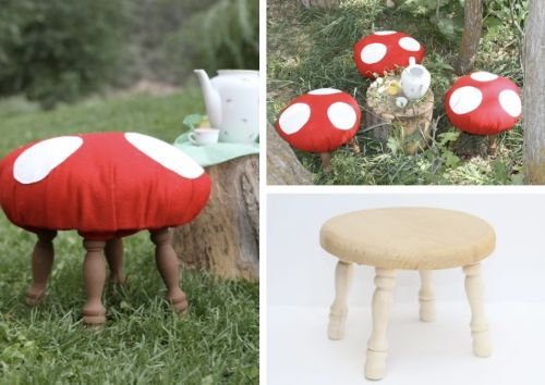 "make one of these ""toadstools"" for the boys room - get stool from garage sale or savers/good will"