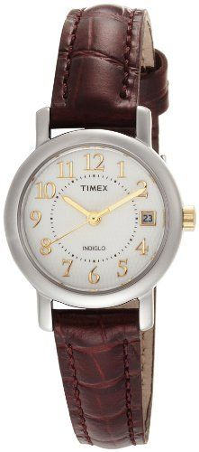 Timex Women's T2N3369J Classic Analog Silver Case Brown Leather Strap Dress Watch Timex. Save 27 Off!. $36.50. Genuine leather, croco patterned strap. Date feature. Water-resistant to 99 feet (30 M). Classic dress styling. Easy to view in low light conditions with indiglo night-light
