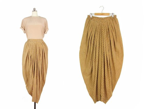 Vintage Harem Pants -- Block Print Indian Cotton Pants -- Anokhi -- Womens S / M…