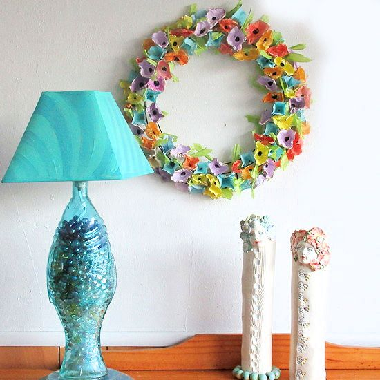 How To Make A Recycled Plastic Egg Carton Wreath Egg Carton Crafts Spring Flower Wreath Crafts