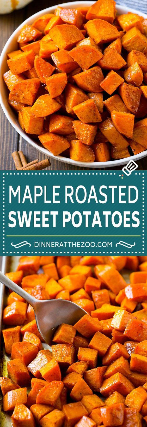 Maple Roasted Sweet Potatoes Recipe   Easy Sweet Potatoes   Baked Sweet Potatoes   Sweet Potato Side Dish #sweetpotatoes #cinnamon #maple #butter #fall #sidedish #dinner #dinneratthezoo