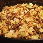 Scharfe Curry-Hack-Kohlpfanne mit Kartoffeln