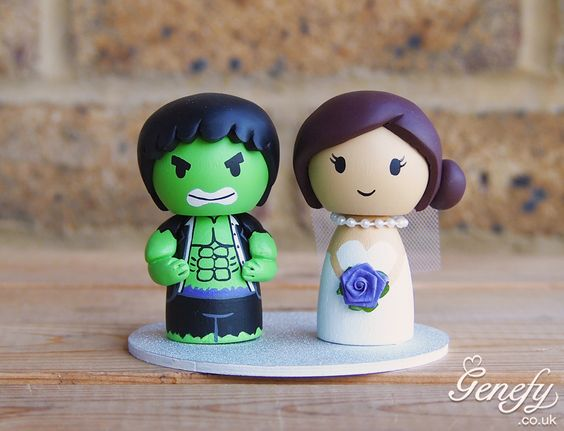 Hulk and bride cake topper by Genefy Playground https://www.facebook.com/genefyplayground: