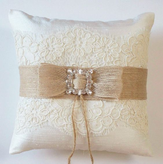 Wedding Ring Pillow in Silk with Alencon Lace Burlap