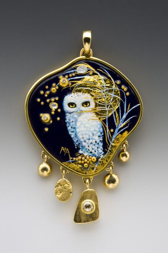 """Enamelist and Goldsmith, Mona and Alex Szabados    """"Inspiration, other than wildlife, beauty and the life we lead, are the enamels themselves, and the materials we use."""" ~www.monaenamels.com:"""