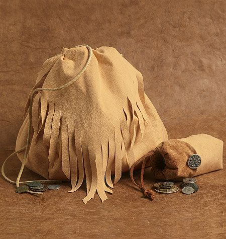 Drawstring Bag And Small Pouch  Suede or Soft Leather  Renaissance Gypsy Bohemian by LunaFioreCostumes on Etsy $55