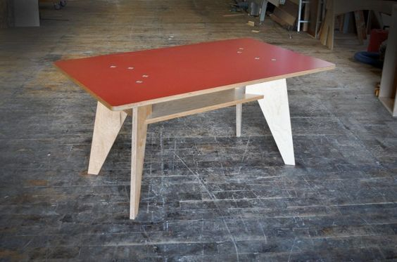 Jean Prouve inspired plywood and laminate table by Kerf Design. Plywood available in hardwood maple or walnut veneer and Italian Abet laminate available in a variety of cool, fun colors. kerfdesign.com: