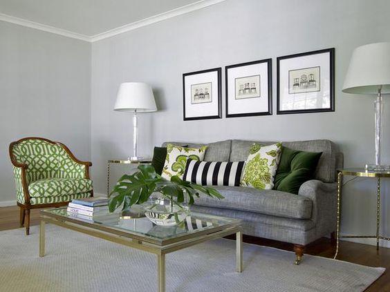 Accessorize With Metallics Living Room Grey Grey Furniture Living Room Living Room Green