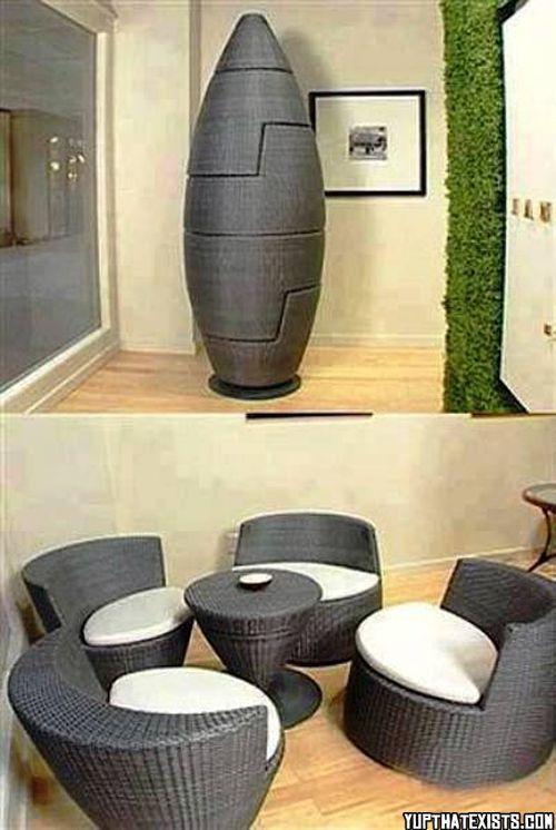 Table and chairs furniture and decks on pinterest for Space saving dining room furniture