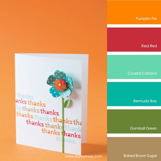 Pumpkin Pie, Real Red, Coastal Cabana, Bermuda Bay, Gumball Green, Baked Brown Sugar #stampinupcolorcombos: