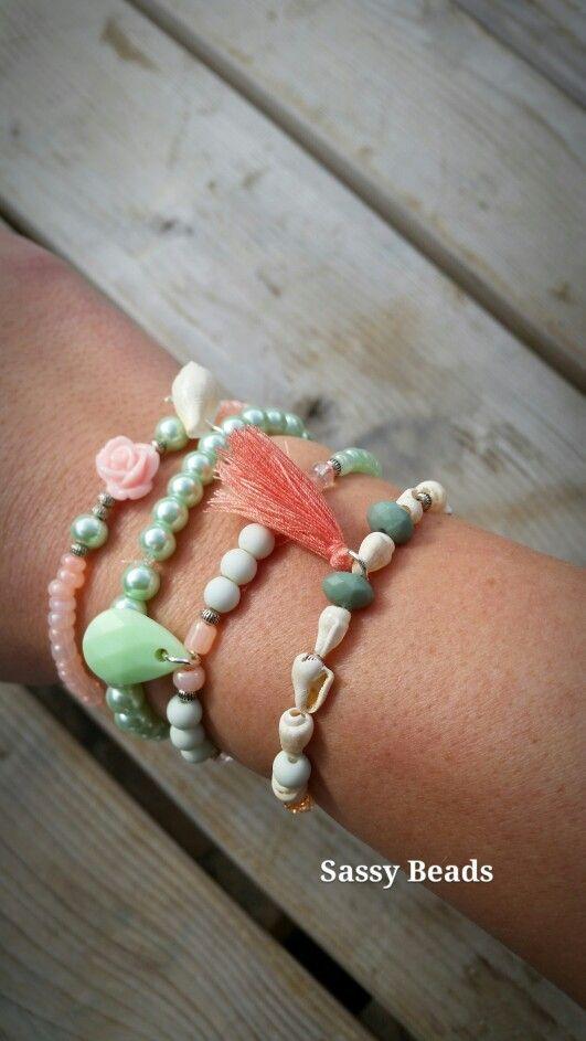Ibiza bracelet peach - mint
