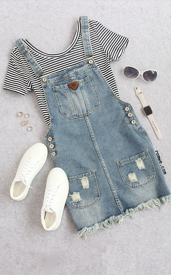 Cute Summer - Thin Striped Crop T-shirt with denim overall dress - romwe.com