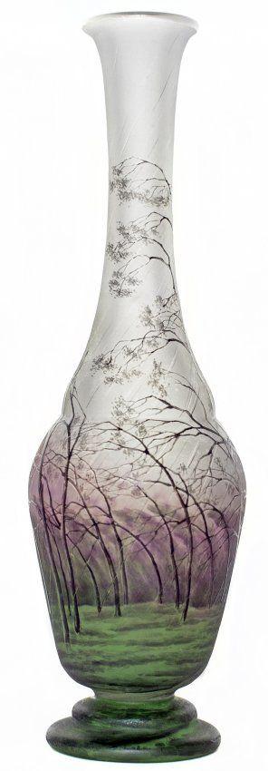 Another beauty - Daum Acid-Etched and Enameled Rainy Landscape Vase, France, ca. 1910.