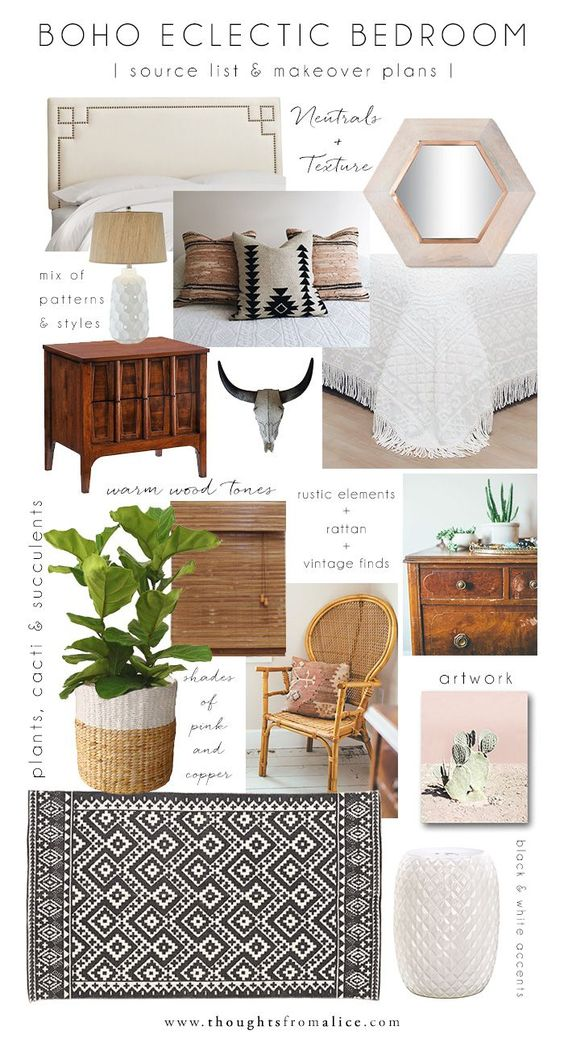 Thoughts from Alice: Boho Eclectic Bedroom: Source List & Makeover Plans: