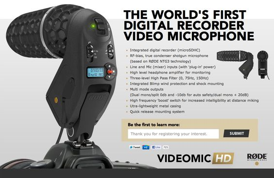 RØDE Microphones is proud to announce the release of its latest on-camera microphone, the Stereo VideoMic Pro.    Building on the success of the VideoMic Pro, which launched in early 2011 and quickly became the defacto standard for DSLR on-camera audio, and RØDE's original Stereo VideoMic, the new Stereo VideoMic Pro provides a high quality stereo option for videographers, and is ideal for recording music, and the atmospheric ambience essential in building a realistic audio sc...