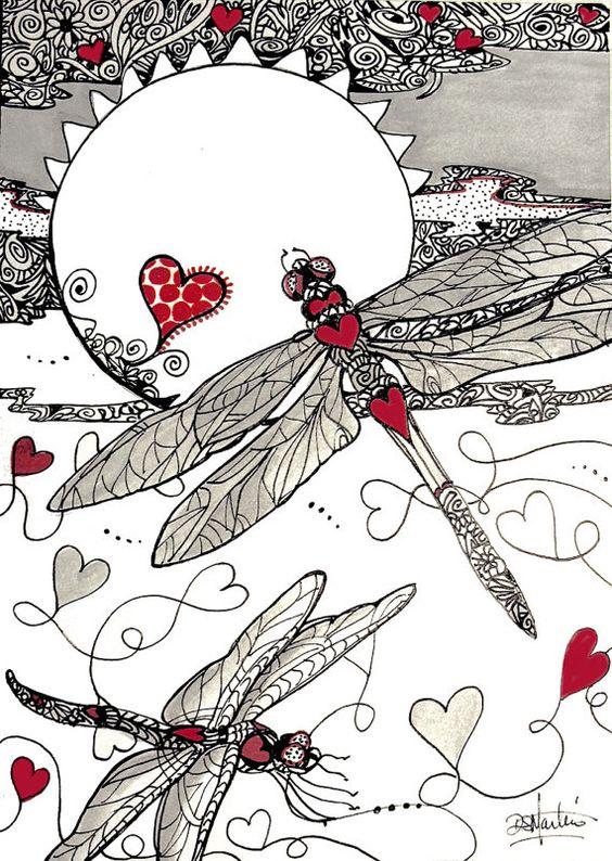 DRAGON HEARTS dragonflys love zentangle by DianaMartinStudio: