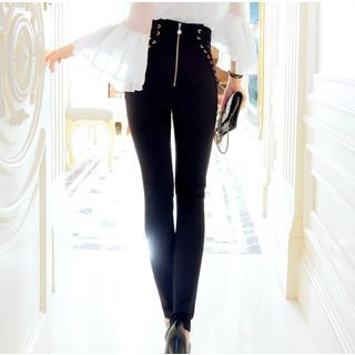 Buy Tang House Lace Up Back-zip Skinny Pants at YesStyle.com! Quality products at remarkable prices. FREE WORLDWIDE SHIPPING on orders over US$ 35.