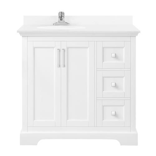 Ove Decors 36 W X 22 D White Emma Vanity And White Cultured Stone Vanity Top With Undermount Bowl Bathroom Vanity Bathroom Vanity Tops Vanity
