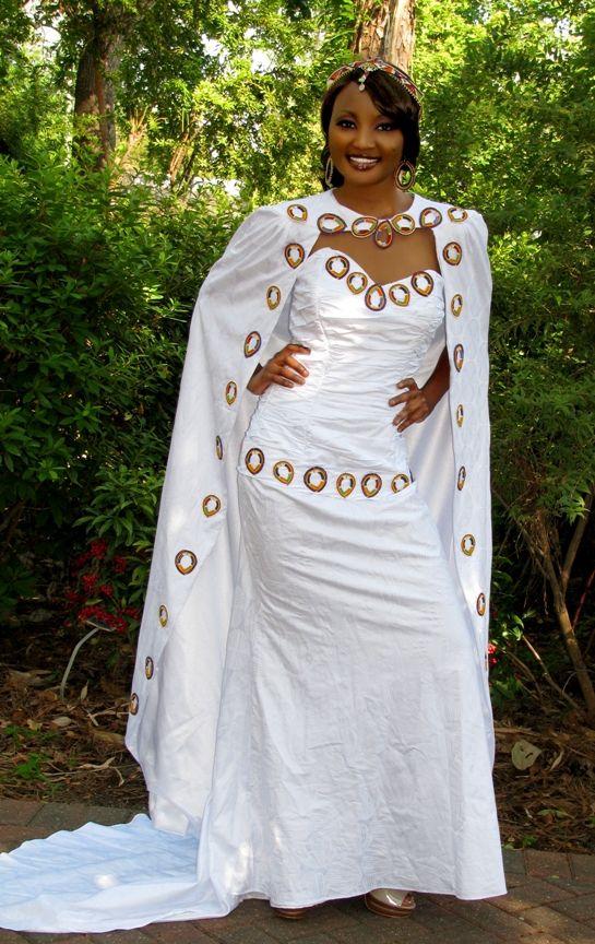 Kenyan maasai wedding dress with cape made of super for Wedding dress fabric samples