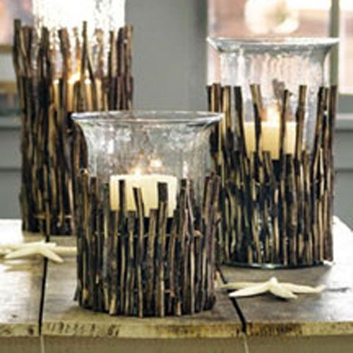 Twig wrap for cylinders Craft Ideas Pinterest Shelving