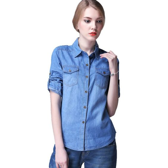 2017 Camisas Femininas Blusas Women Denim Blouses Female Long ...