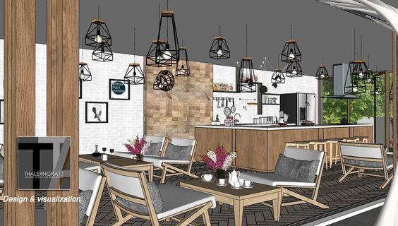 Coffee shop bar coffe bar and coffee shop on pinterest - Modern coffee shop interior ...