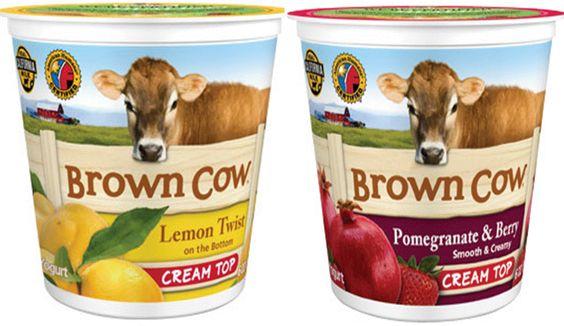 Refrigerated: Brown Cow Cream Top Yogurt: Lemon Twist, Pomegranate & Berry, 6 oz for 99¢