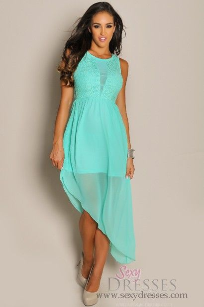 Mint Green Lace Top Asymmetrical Sheer Maxi Dress  Mint green ...