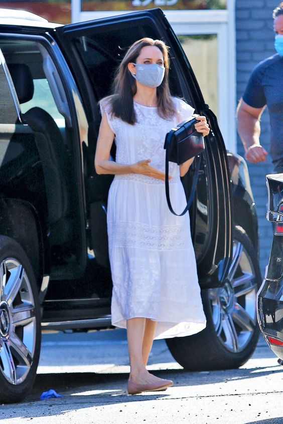 Angelina Jolie Matched Her Face Mask to Her Summer Dress on Her First Outing During COVID