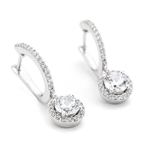 OneByOne CZ Crystals Round Halo Drop Sterling Silver Earrings for Women…