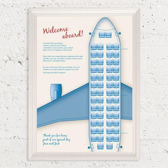 retro airplane seating chart  printable file  by idoityourself, $65.00