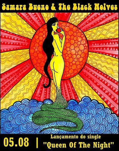 """Ilustração idealizada para o single """"Queen Of The Night"""" da banda Samara Bueno & The Black Wolves"""