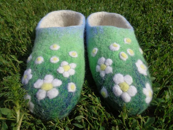 Felted Home Slippers HANDMADE от homeslippers на Etsy