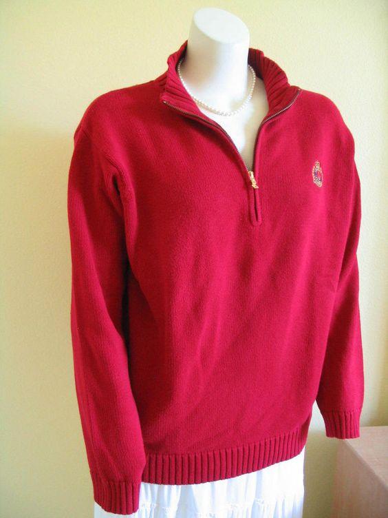 RALPH LAUREN Size 1X Red Knit Sweater 1/4 Zip Long Sleeves Crest Sweater #LaurenRalphLauren #14Zip