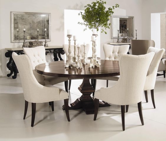 Bernhardt Interiors - Wood Plank Round Pedestal Dining Table - Riverview Galleries - Dining Room Table Durham, Chapel Hill, Raleigh