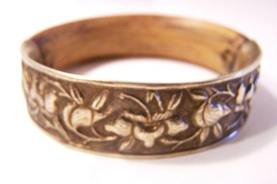 Vintage Silver and Teak Wood Bangle BR5285 by JewelsAndMyGirls3, $98.00