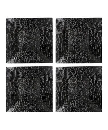 Square Black Alligator Charger Plate - Set of Four by Jay Import