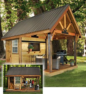 Outdoor kitchens outdoor and kitchens on pinterest for Outdoor kitchen shed