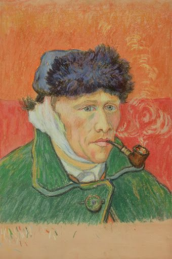 van Gogh, self portrait with a pipe but without one year
