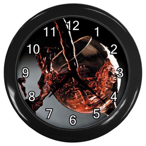 Poured Red Wine In Glass Plastic Black Frame Battery Novelty Kitchen Wall Clock #CustomMade #Novelty #clock #kitchen