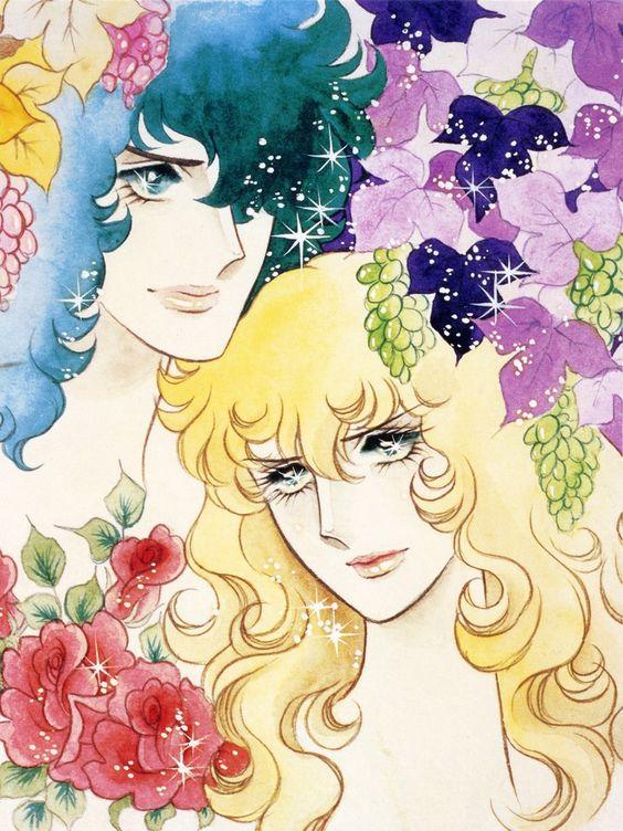 花とアンドレ・グランディエとオスカル・フランソワ・ド・ジャルジェのベルサイユのばらの壁紙