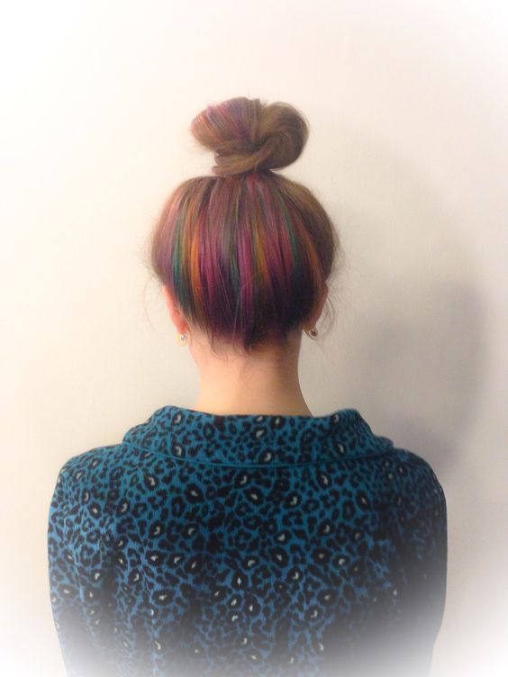 Peekaboo rainbow highlights... Top knot hair... Under color hair... created by @yasminmorrishairandlife