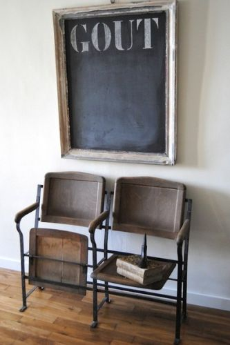 Love the chairs and the blackboard looks fantastic above..