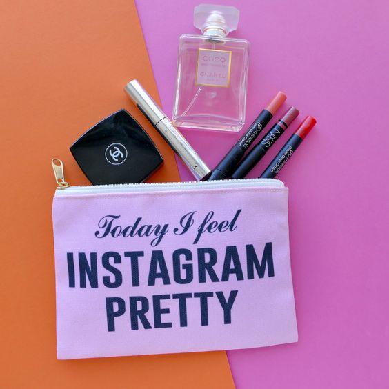 Today I Feel Instagram Pretty Travel Makeup Pouch Wristlet