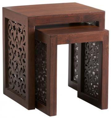 """Home Decorators maharaja nesting tables in walnut, $199  Large: 20.5""""H x 17""""W x 17""""D.  Small: 16.5""""H x 14""""W x 14""""D."""