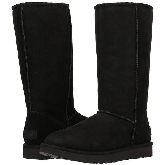 UGG Classic Tall II (Black) Women's Boots (€180) ❤ liked on Polyvore featuring shoes, boots, mid-calf boots, faux fur boots, tall fur boots, tall black boots, platform boots and black high boots
