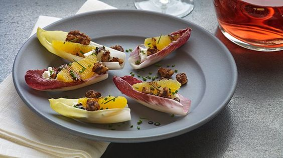 Stuffed Endives with Goat Cheese and Walnuts