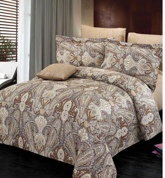 Dans les tons de beige aux motifs originaux, la housse Concord  est fait de 100 % coton.