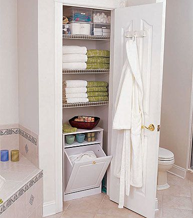 Organize this closet case sacks hampers and the hook for Bathroom closet ideas